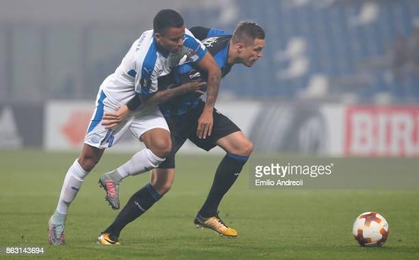 Josip Ilicic of Atalanta BC competes for the ball with Allan Rodrigues de Souza of Apollon Limassol FC during the UEFA Europa League group E match...