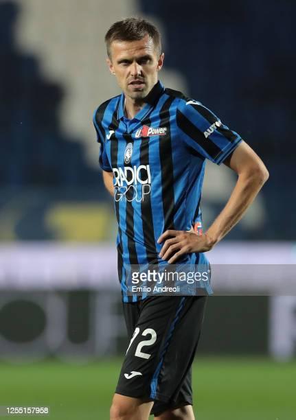 Josip Ilicic of Atalanta BC looks on during the Serie A match between Atalanta BC and UC Sampdoria at Gewiss Stadium on July 8, 2020 in Bergamo,...