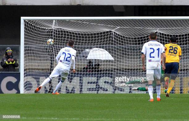 Josip Ilicic of Atalanta BC scores his ream's second goal goal from the penalty spot during the serie A match between Hellas Verona FC and Atalanta...