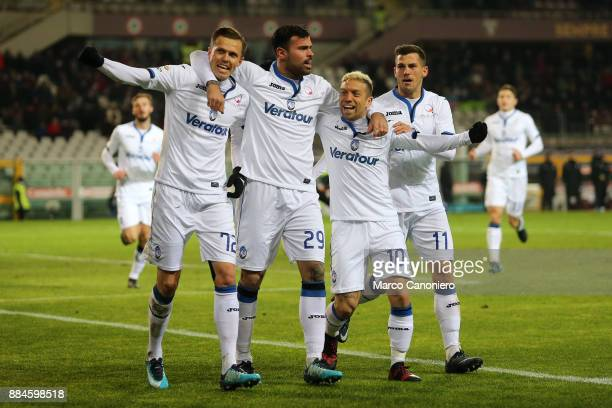 Josip Ilicic of Atalanta Bergamasca Calcio celebrate after scoring a goal with his teammates Andrea Petagna Alejandro Gomez and Remo Freuler during...