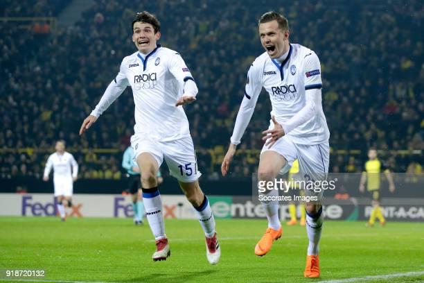 Josip Ilicic of Atalanta celebrates 12 with Marten de Roon of Atalanta during the UEFA Europa League match between Borussia Dortmund v Atalanta...