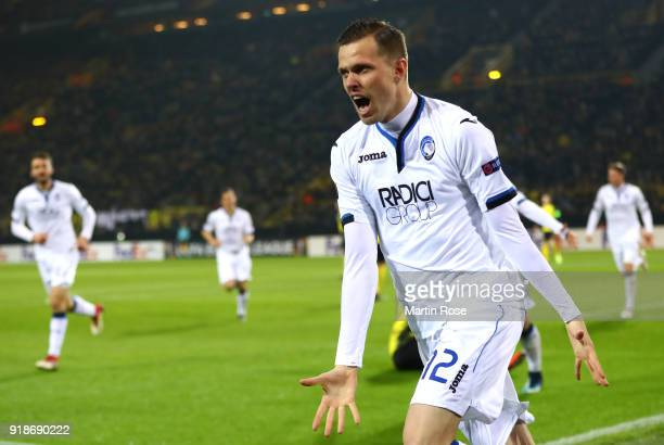 Josip Ilicic of Atalanta celebrates scoring the first Atalanta goal during UEFA Europa League Round of 32 match between Borussia Dortmund and...