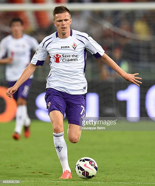 Josip Ilicic of Fiorentina in action during the Serie A match between AS Roma and ACF Fiorentina at Stadio Olimpico on August 30 2014 in Rome Italy