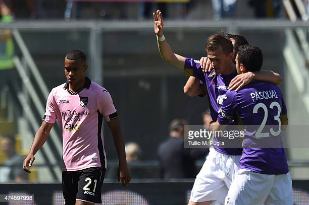 Josip Ilicic of Fiorentina reacts after scoring the opening goal during the Serie A match between US Citta di Palermo and ACF Fiorentina at Stadio...