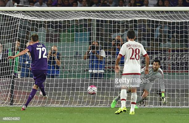 Josip Ilicic of Fiorentina takes and scores a penalty goal 20 during the Serie A match between ACF Fiorentina and AC Milan at Stadio Artemio Franchi...