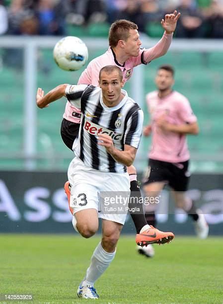 Josip Ilicic of Palermo and Giorgio Chiellini of Juventus compete for the ball during the Serie A match between US Citta di Palermo and Juventus FC...