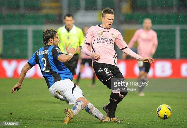 Josip Ilicic of Palermo and Guglielmo Stendardo of Atalanta compete for the ball during the Serie A match between US Citta di Palermo and Atalanta BC...