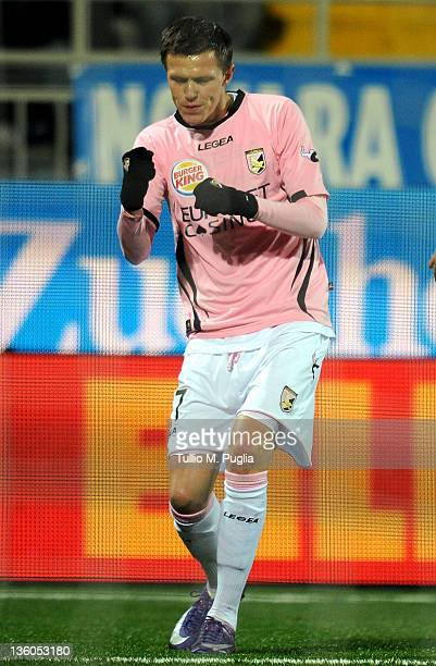 Josip Ilicic of Palermo celebrates after scoring the opening goal during the Serie A match between Novara Calcio and US Citta di Palermo at Silvio...