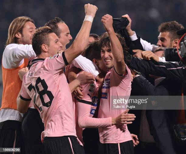 Josip Ilicic of Palermo celebrates with team mates after scoring is teams second goal during the Serie A match between US Citta di Palermo and Calcio...