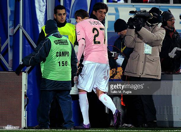 Josip Ilicic of Palermo leaves the pitch after receiving a red card during the Serie A match between Novara Calcio and US Citta di Palermo at Silvio...