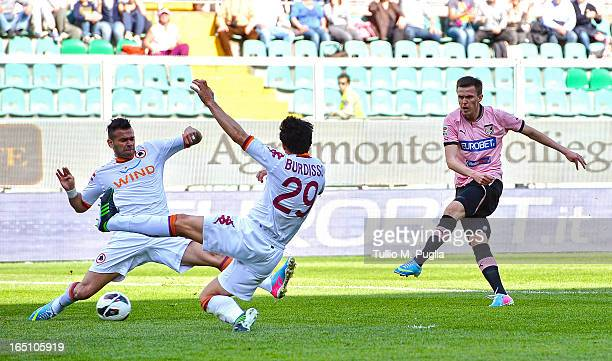 Josip Ilicic of Palermo scores the opening goal during the Serie A match between US Citta di Palermo and AS Roma at Stadio Renzo Barbera on March 30...