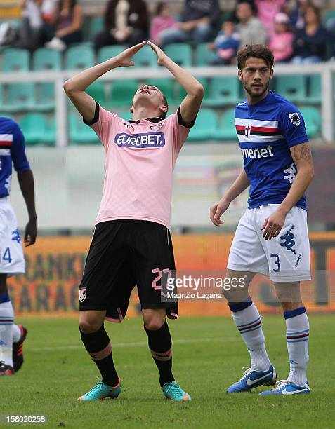 Josip Ilicic of Palermo shows his dejection during the Serie A match between US Citta di Palermo and UC Sampdoria at Stadio Renzo Barbera on November...