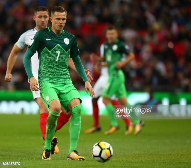 Josip Ilicic of Slovenia during FIFA World Cup Qualifying European Region Group F match between England and Slovenia at Wembley stadium London 05 Oct...