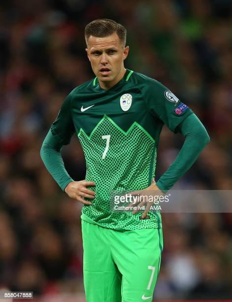 Josip Ilicic of Slovenia during the FIFA 2018 World Cup Qualifier between England and Slovenia at Wembley Stadium on October 5 2017 in London England