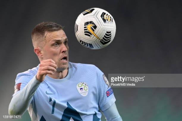 Josip Ilicic of Slovenia gets up for a header during the FIFA World Cup 2022 Qatar qualifying match between Slovenia and Croatia on March 24, 2021 at...