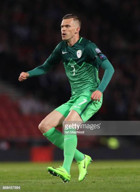 Josip Ilicic of Slovinia is seen during the FIFA 2018 World Cup Qualifier between Scotland and Slovenia at Hampden Park on March 26 2017 in Glasgow...