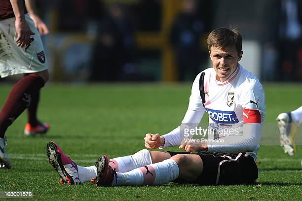 Josip Ilicic of US Citta di Palermo looks dejected during the Serie A match between Torino FC and US Citta di Palermo at Stadio Olimpico di Torino on...
