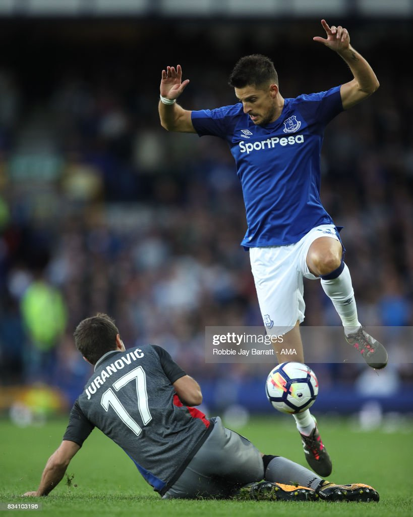 Josip Juranovic of Hadjuk Split and Kevin Mirallas of Everton during the UEFA Europa League Qualifying Play-Offs round first leg match between Everton FC and Hajduk Split at Goodison Park on August 17, 2017 in Liverpool, United Kingdom.