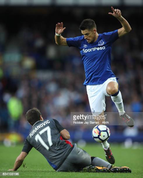 Josip Juranovic of Hadjuk Split and Kevin Mirallas of Everton during the UEFA Europa League Qualifying PlayOffs round first leg match between Everton...