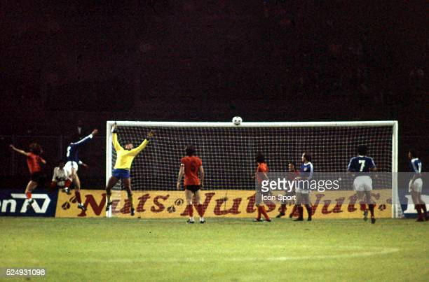 Josip Katalinski scores a goal during the European Championship for the 3rd place between Holland and Yugoslavia in Stadium Maksimir Zagreb...