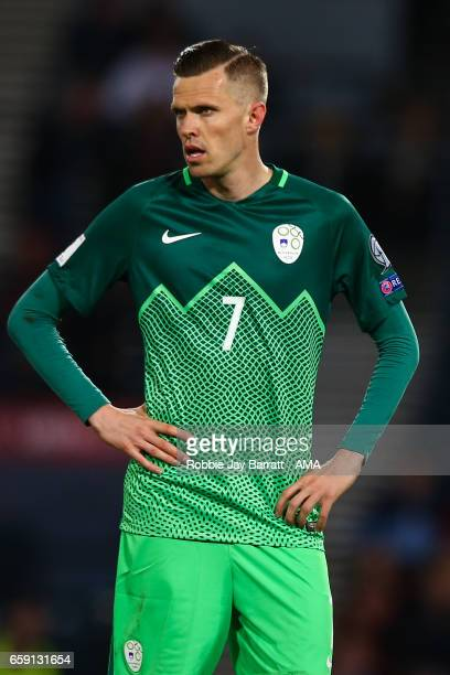 Josip Licic of Slovenia during the FIFA 2018 World Cup Qualifier between Scotland and Slovenia at Hampden Park on March 26 2017 in Glasgow Scotland