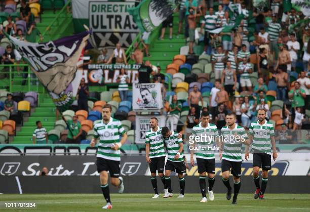 Josip Misic of Sporting CP celebrates with teammates after scoring a goal during the Pre-Season Friendly match between Sporting CP and Empoli FC at...