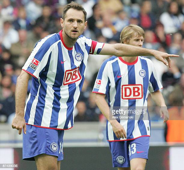 Josip Simunic of Berlin reacts during the Bundesliga match between Hertha BSC Berlin and FC Schalke 04 at Olympic stadium on May 16 2009 in Berlin...