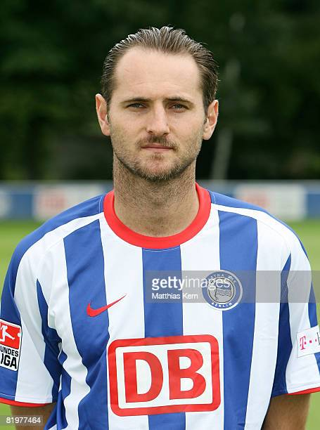 Josip Simunic poses during the Hertha BSC Berlin Team Presentation on July 18 2008 in Berlin Germany