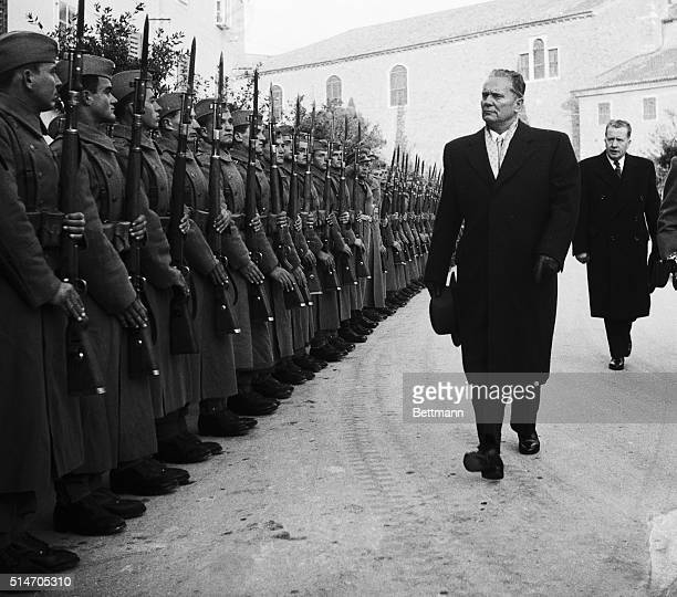 Josip Tito inspects a unit of the border garrison in one of the towns annexed by Yugoslavia in the Trieste accord