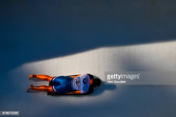 Joska Le Conte of Netherlands competes in the Women's Skeleton during the BMW IBSF Bobsleigh and Skeleton World Cup on November 18 2017 in Park City...