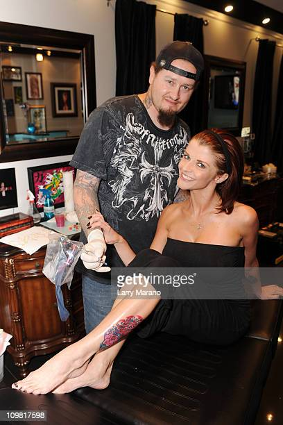 Joslyn James gets a new tattoo by tattoo artist Ivan Spilman at First Class Tattoo Parlor on March 6 2011 in Miami Beach Florida