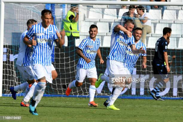 Josmin Kurtic of SPAL celebrate a second goal with his team matesduring the Serie A match between SPAL and SS Lazio at Stadio Paolo Mazza on...