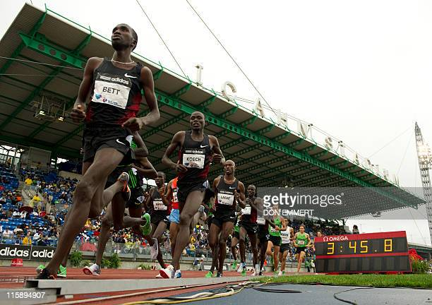 Josphat Kipkoech Bett of Kenya leads during the men's 5000 meters at the Adidas Grand Prix on Randall's Island June 11 2011 in New York Bett finished...