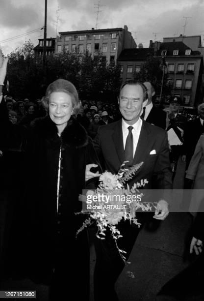 Joséphine-Charlotte de Belgique, grande duchesse de Luxembourg et le grand-duc Jean de Luxembourg lors de la visite officielle de la Rine...