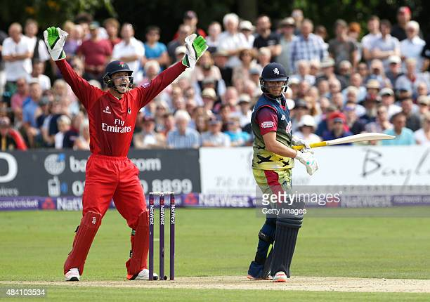 Joss Butler of Lancashire succesfully appeals for the wicket of Sam Northeast of Kent during the NatWest T20 Blast quarter final match between Kent...