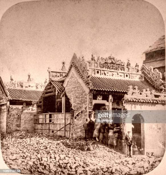 Joss house during the Opium War after bombing by French or English China 1860