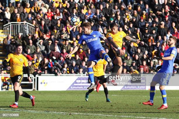 Joss Labadie of Newport County contends with Gaetano Berardi of Leeds United to head the ball towards goal during the Fly Emirates FA Cup Third Round...