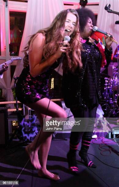 Joss Stone and Betty Wright perform during the Operation Hope For Haiti benefit at Bongos on January 24 2010 in Miami Florida