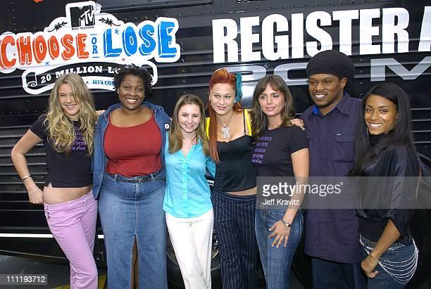 Joss Stone Jehmu Greene president of Rock the Vote Beverley Mitchell Sarah Hudson Eliza Dushku Sway of MTV and Jada Pinkett Smith