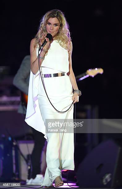 Joss Stone performs prior to the Dallas Cowboys versus Jacksonville Jaguars NFL match at Wembley Stadium on November 9 2014 in London England