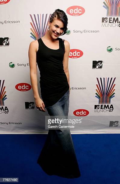 Joss Stone poses in the Awards Room during the MTV Europe Music Awards 2007 at the Olympiahalle on November 1 2007 in Munich Germany