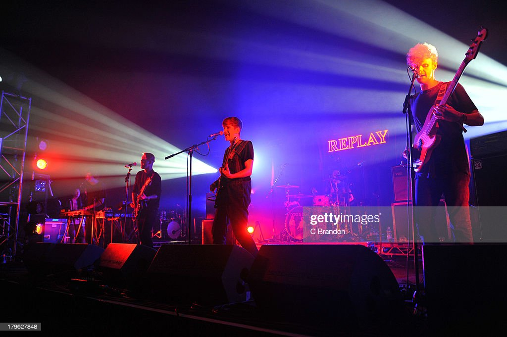 Joss Van Wilder, Paul Roberts, Robert Milton, Daniel Harvey and Lawrence 'Trev' Cole of Dog Is Dead perform on stage during Day 1 of Bestival 2013 at Robin Hill Country Park on September 5, 2013 in Newport, Isle of Wight.