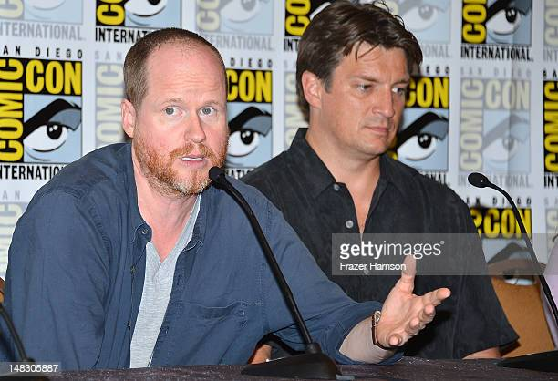 Joss Whedon and Nathan Fillion speak onstage at the Firefly 10 Year Anniversary Reunion Press Conference during ComicCon International 2012 held at...