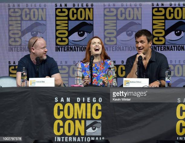 Felicia Day speaks onstage at 'Dr Horrible's SingAlong Blog' Reunion during ComicCon International 2018 at San Diego Convention Center on July 20...
