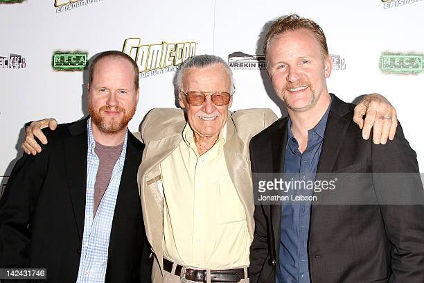 Joss Whedon Stan Lee and Morgan Spurlock arrive to Morgan Spurlock's New Film 'ComicCon Episode IV A Fan's Hope' at ArcLight Hollywood on April 4...