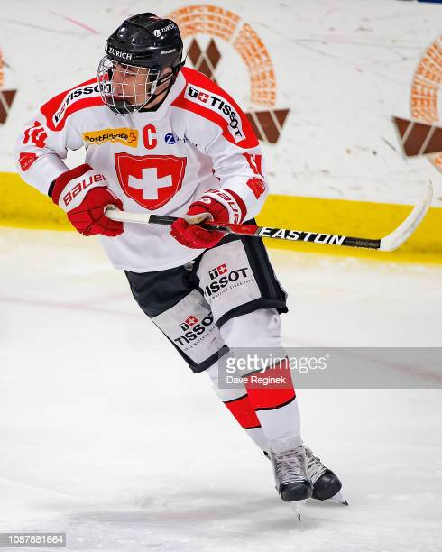 Josselin Dufey of the Switzerland Nationals follows the play against the USA Nationals during day2 of game two of the 2018 Under17 Four Nations...