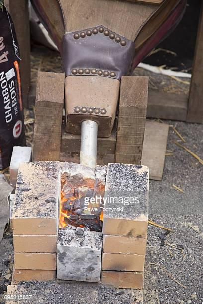 Josselin Medieval Festival, fireplace