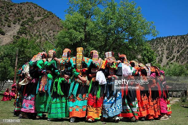 josshi festival, kalash, pakistan - kalash people stock photos and pictures