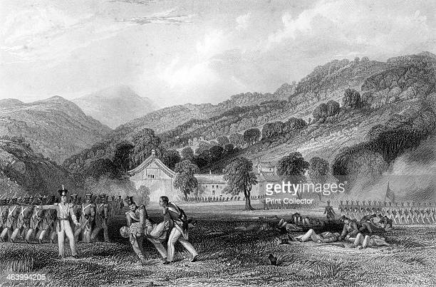 'JossHouse Chapoo Death of Colonel Tomlinson' China 1842 Sketched on the spot by Captain Stoddart RN Colonel Nicholas R Tomlinson of the 18th...