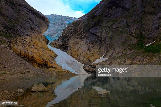 Jostedalsbreen paradise: Briksdal Glacier reflection sunset - Jostedal, Norway, Scandinavia